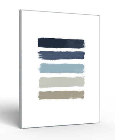 Blue & Taupe Stripes Interchangeable Fabric Art Print Created By Orara Studio