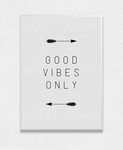 Good Vibes Only Arrow Interchangeable Fabric Art Print Created By Orara Studio