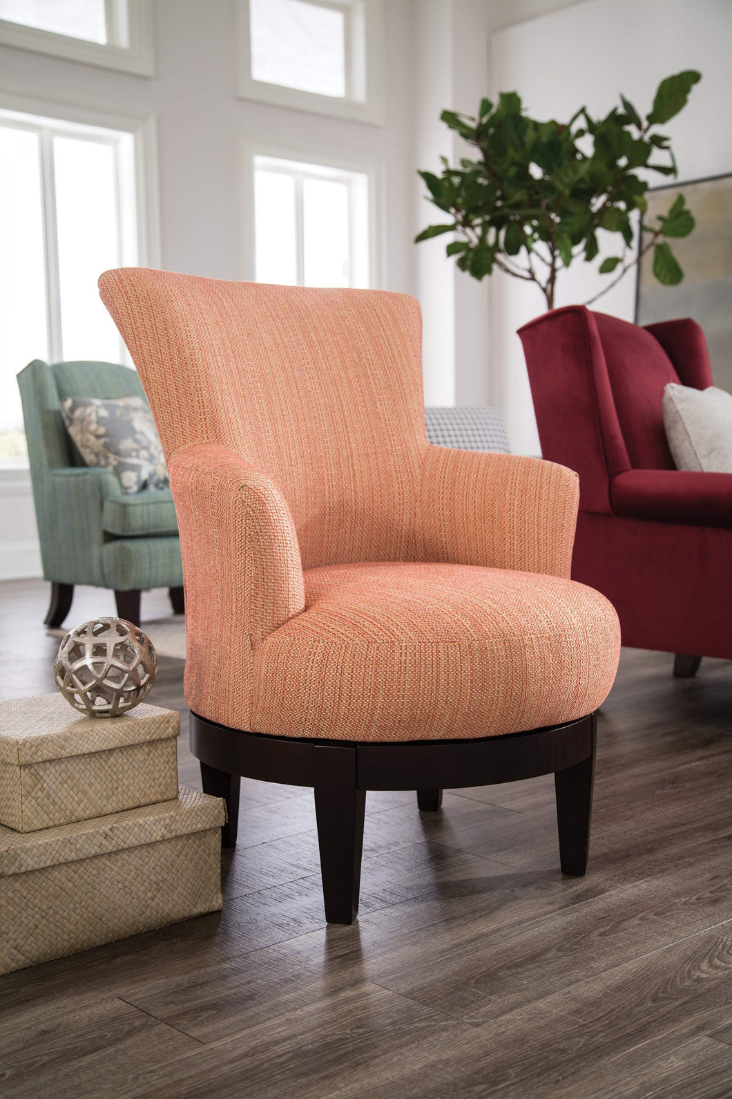 Picture of: Justine Swivel Barrel Chair Brownie Furniture