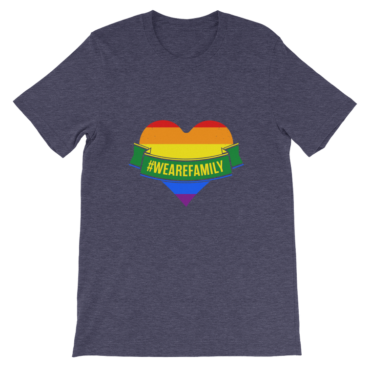 Unisex short sleeve t-shirt; PRIDE! WE ARE ALL FAMILY