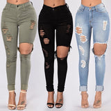 High Waist Stretch Skinny Ripped Jeans For Women