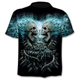 Men/Women Fake Jacket Skull 3d Print  Short Sleeve T-Shirt