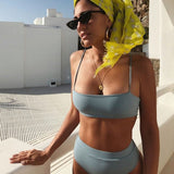 Sexy Padded Bra Straps High Waist Swimsuit