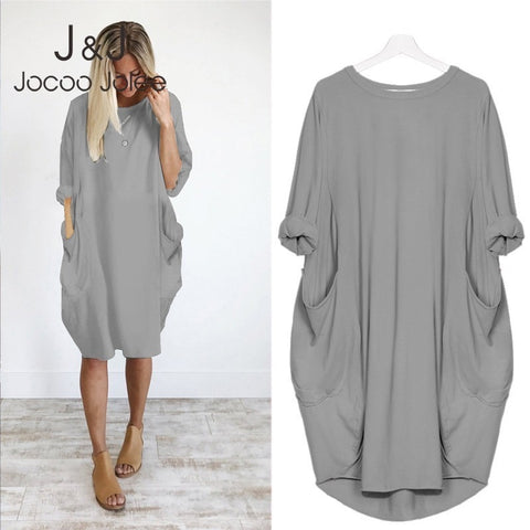 O Neck Casual Loose Dress with Pocket