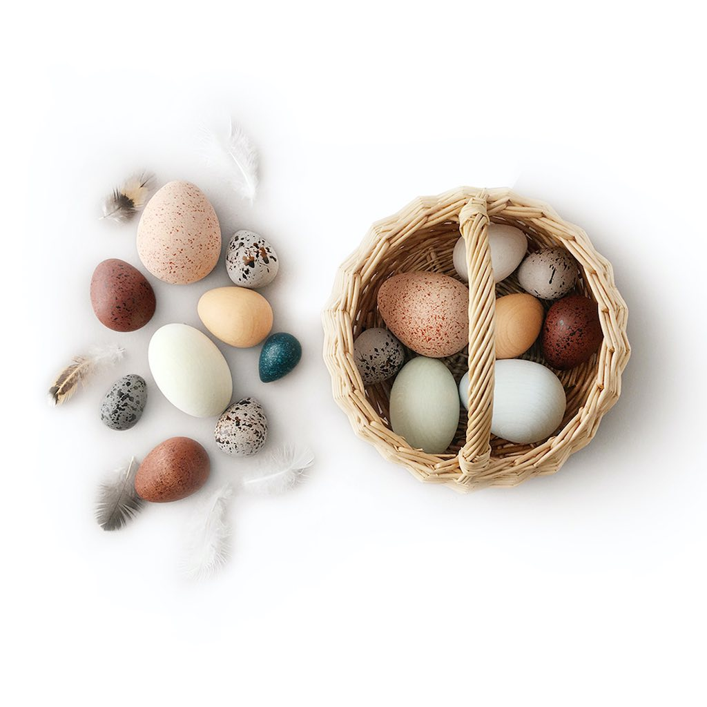 Moon Picnic A Dozen Wooden Bird Eggs with Rattan Basket