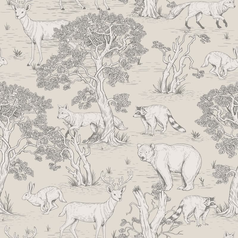 Dekornik Animals Wallpaper in beige