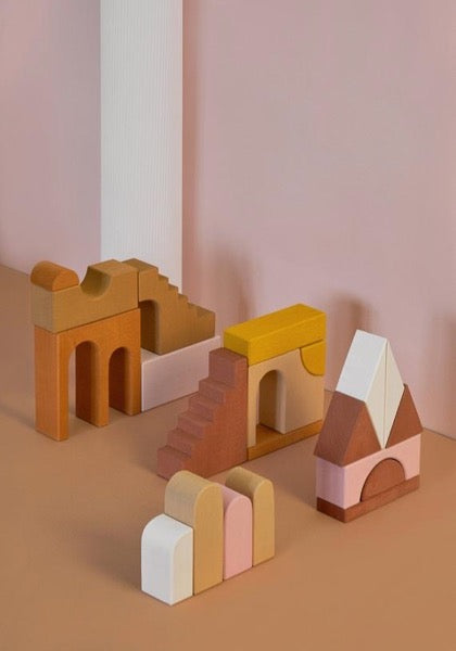 Apartment Building Wooden Blocks Set