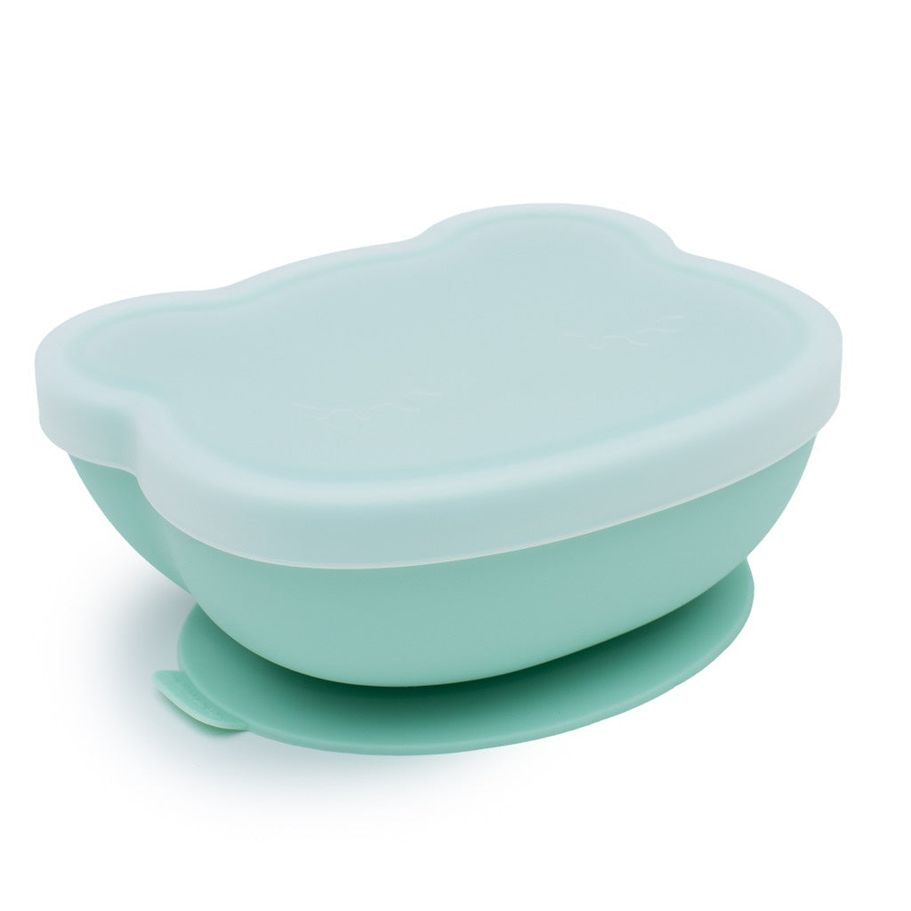 We Might Be Tiny Mint Silicone Stickie Bowl with lid on