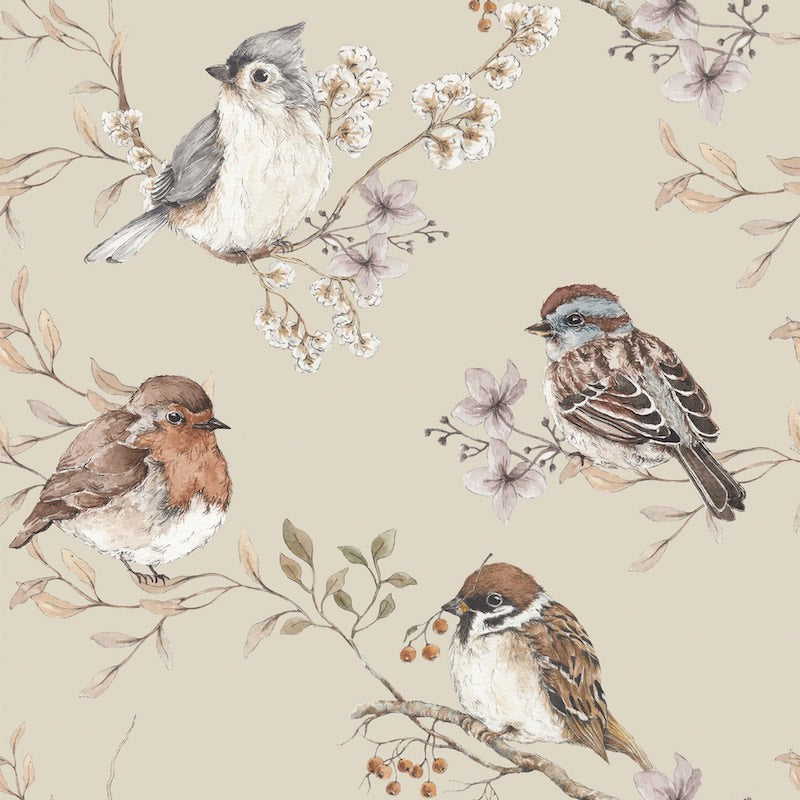 Dekornik Birds Wallpaper - Beige