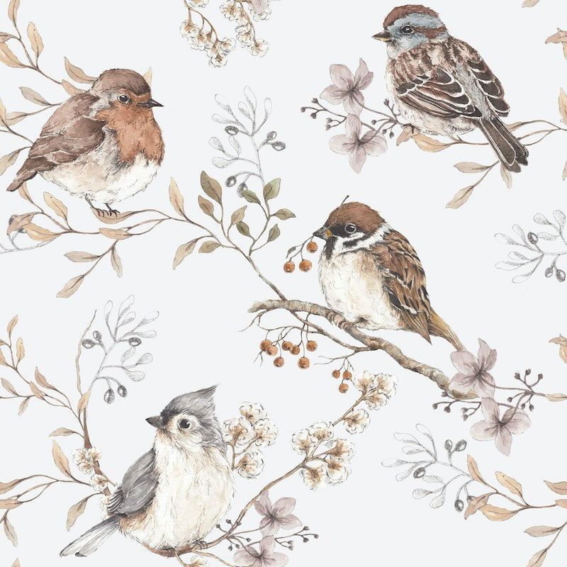 Dekornik Birds Wallpaper - White & Grey background