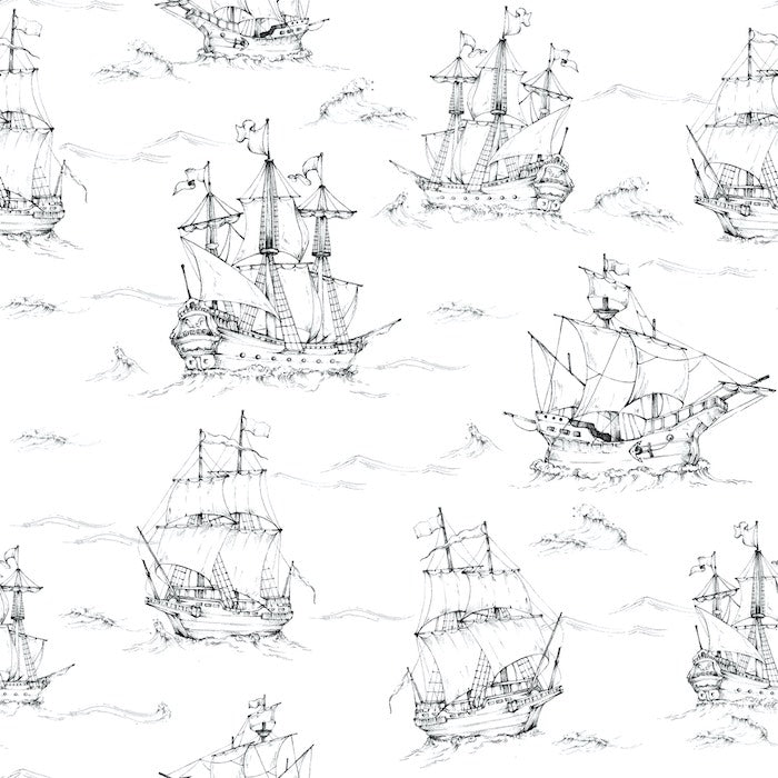 Dekornik Black & White Ships Wallpaper