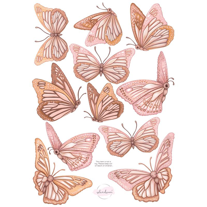 Isla Dream Prints Butterflies 'Morning Sun' Fabric Wall Decals