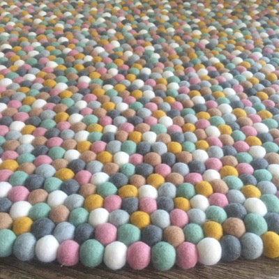 Winston & Grace Felt Ball Rug - Candied Almonds