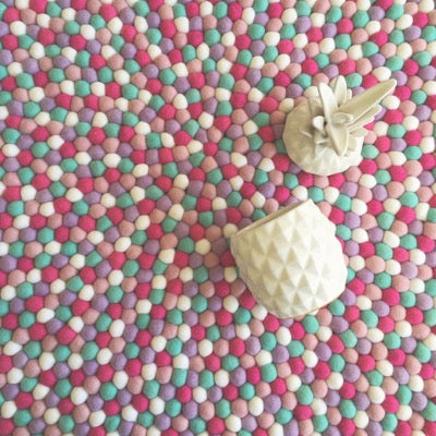 Winston & Grace Felt Ball Rug - Coconut Ice Splice