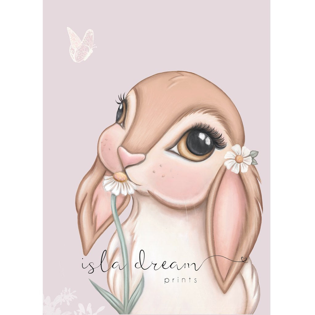 Isla Dream Prints Fawn Bunny Print with Lilac Background