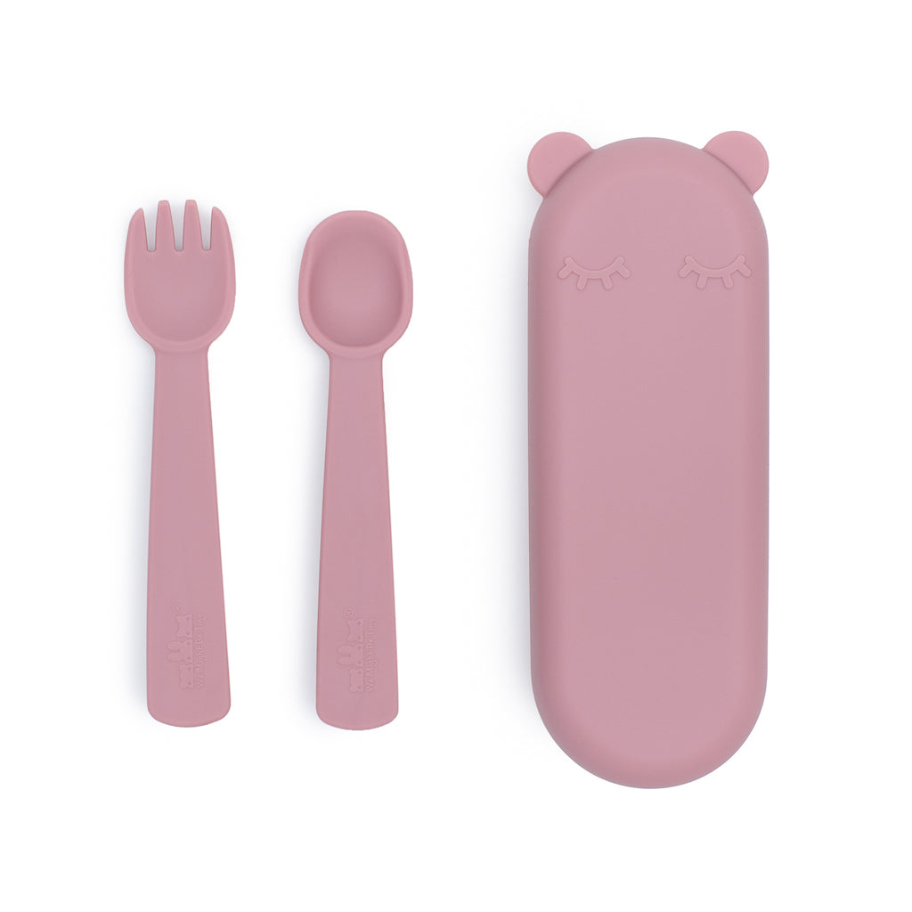 We Might Be Tiny Feedie Fork & Spoon Set with Case in Dusty Rose