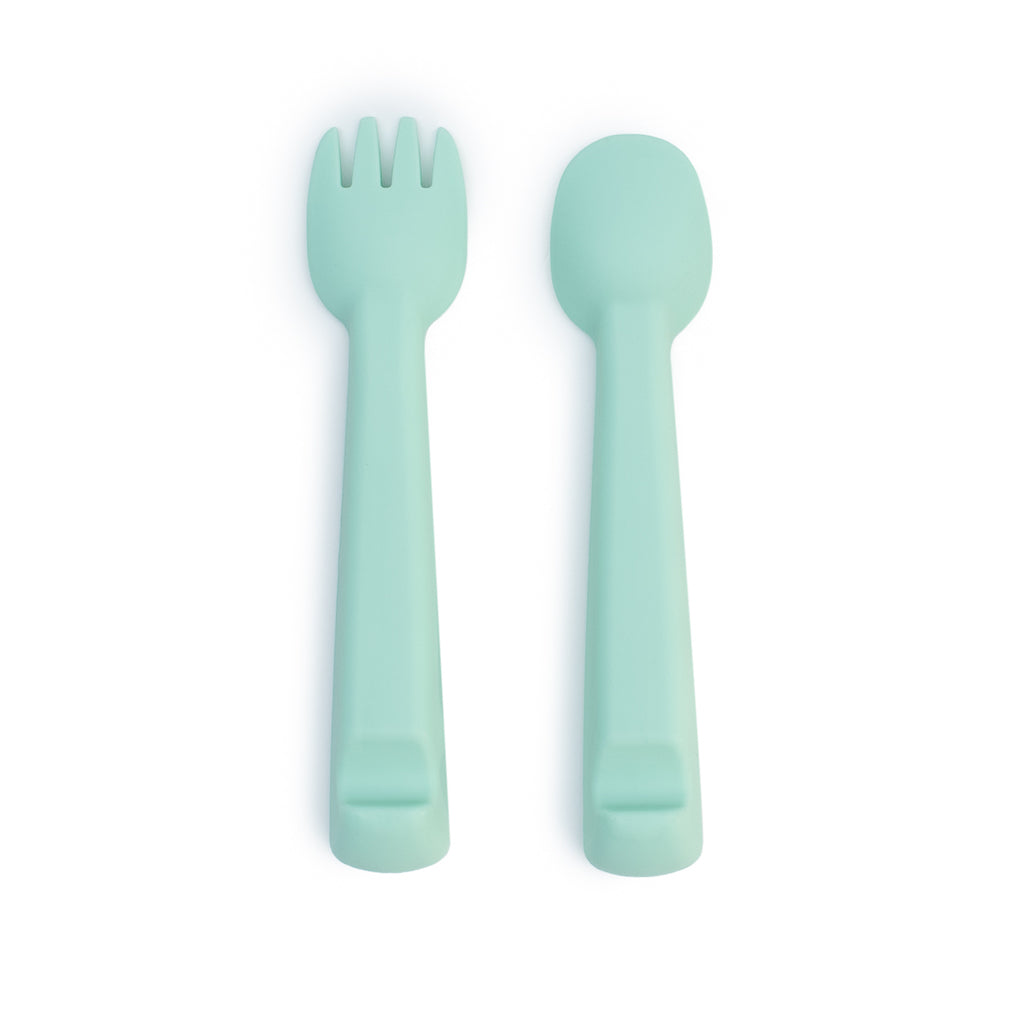 We Might Be Tiny Mint Silicone Feedie Fork & Spoon Set