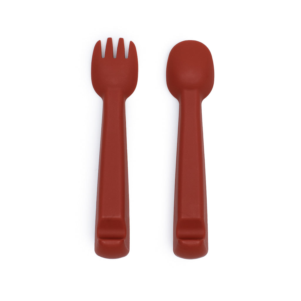 We Might Be Tiny Rust Silicone Feedie Fork & Spoon Set