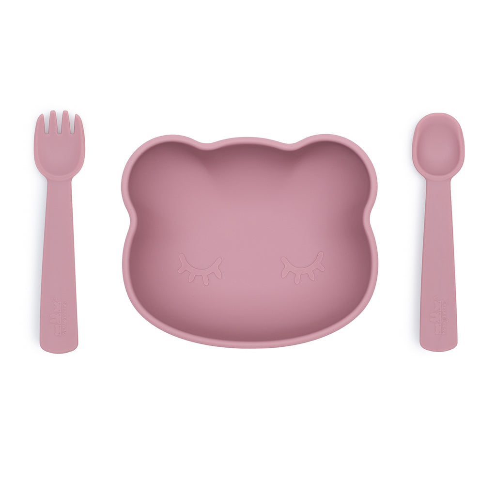 We Might Be Tiny Dusty Rose Stickie Bowl with Feedie Fork & Spoon