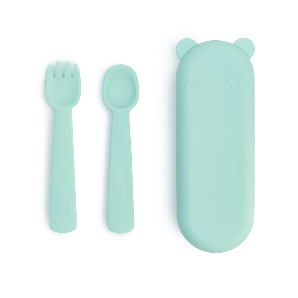 We Might Be Tiny Feedie Fork & Spoon Set with case in Mint