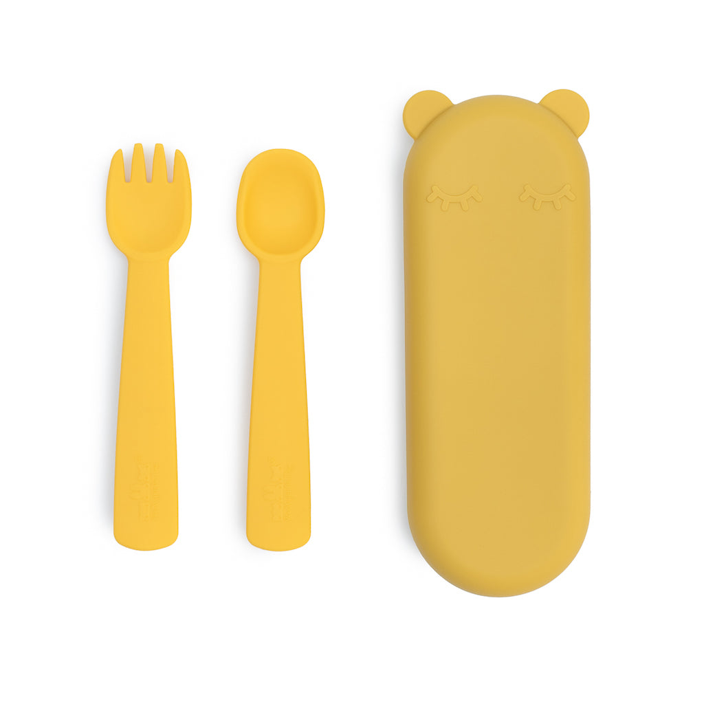 We Might Be Tiny Feedie Fork & Spoon Set with case in Yellow