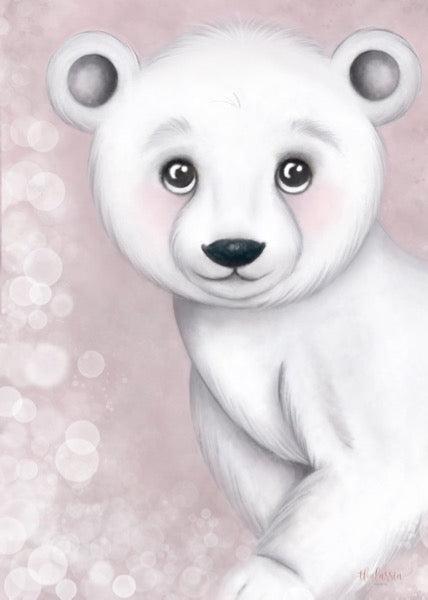 Isla Dream Prints Foster The Polar Bear Print - Pink