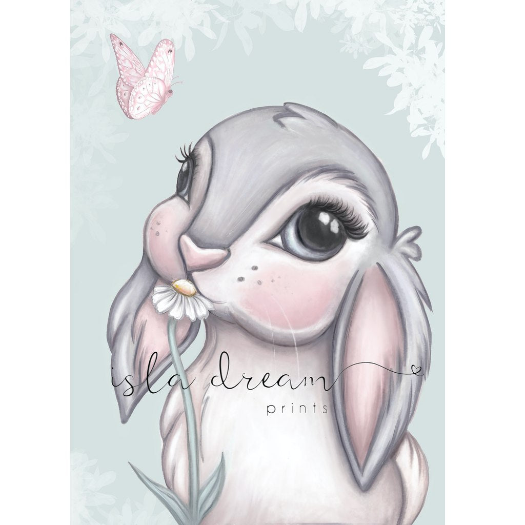 Isla Dream Prints Freya Bunny Print with Mint Background
