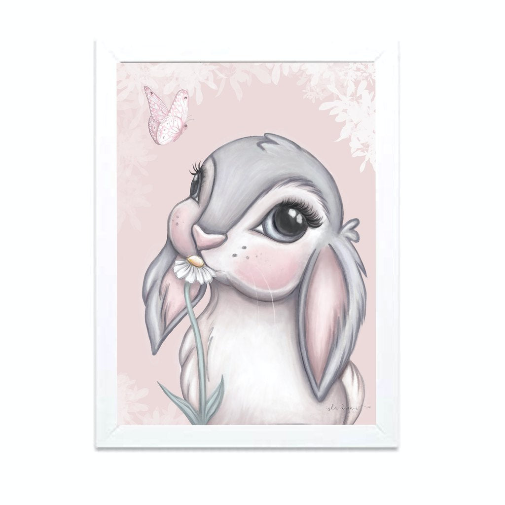 Isla Dream Prints Freya Bunny Print with Pink Background