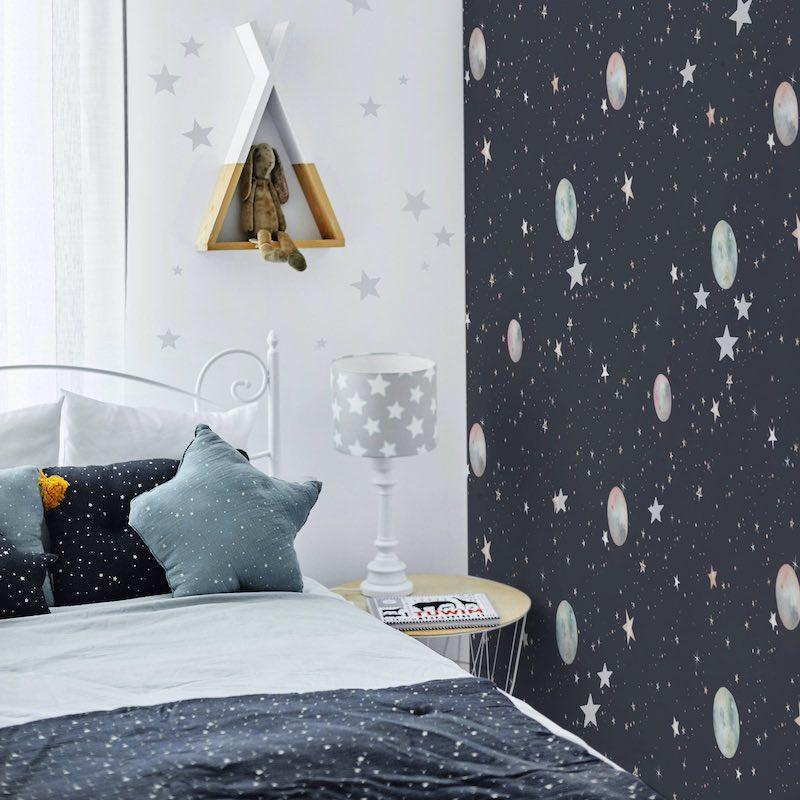 Dekornik Cosmos Wallpaper on bedroom wall