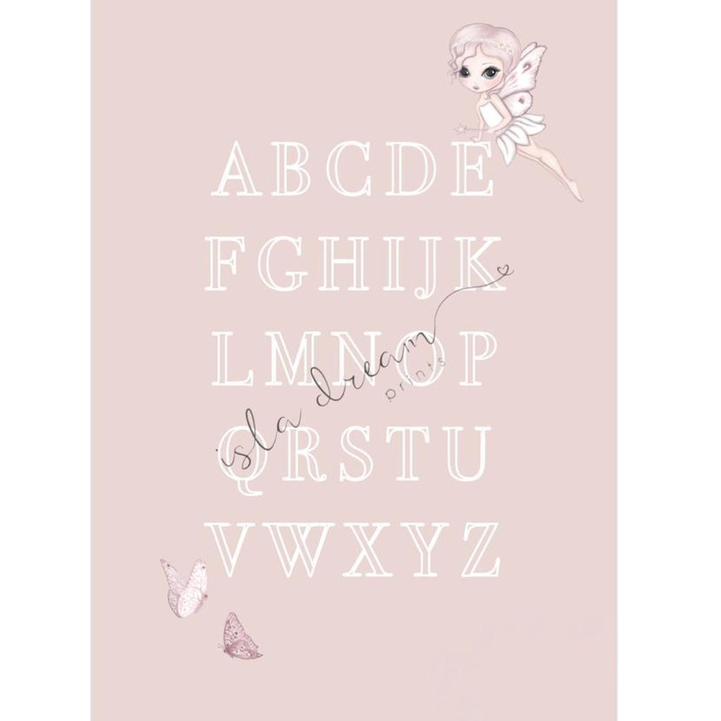Isla Dream Prints Grace Fairy & Butterfly Alphabet Poster in Pink