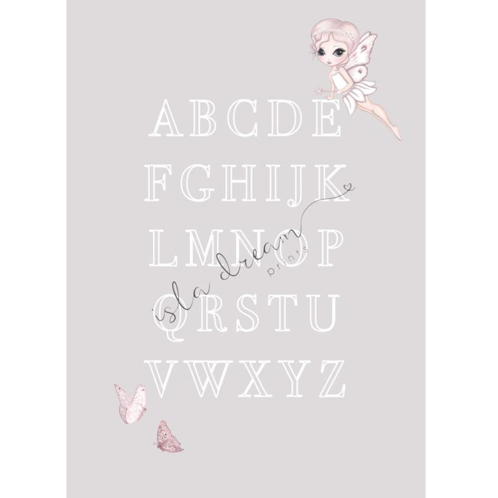 Isla Dream Prints Grace Fairy & Butterfly Alphabet Poster in Grey