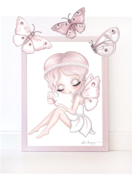 Isla Dream Prints Grace The Butterfly Fairy Print with Butterfly Decals