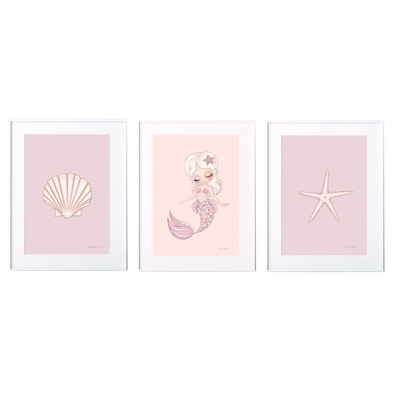 Isla Dream Prints Shell Print with Jasmine Mermaid Print and Starfish Print