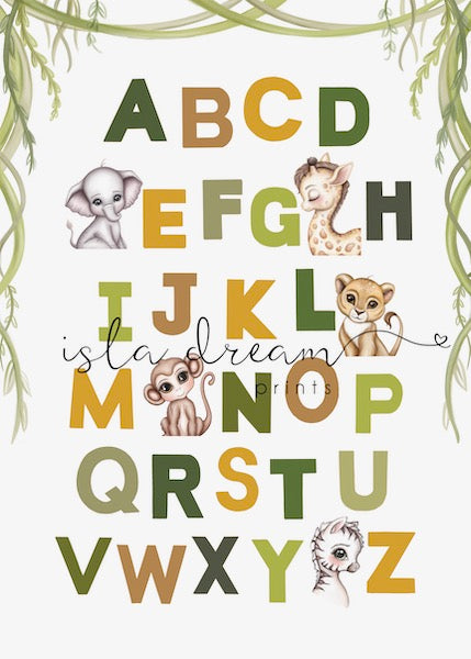 Isla Dream Prints Animal Alphabet Poster