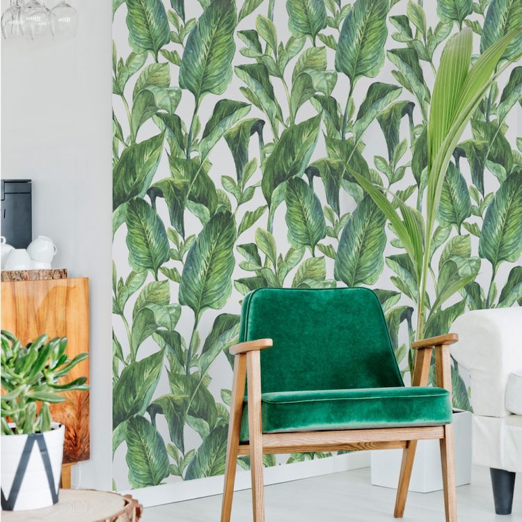Dekornik Green Leaves Wallpaper feature wall