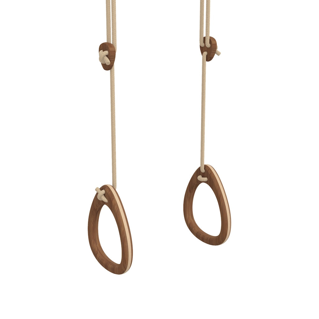 Lillagunga Gymnastics Rings Limited Edition Walnut with beige ropes