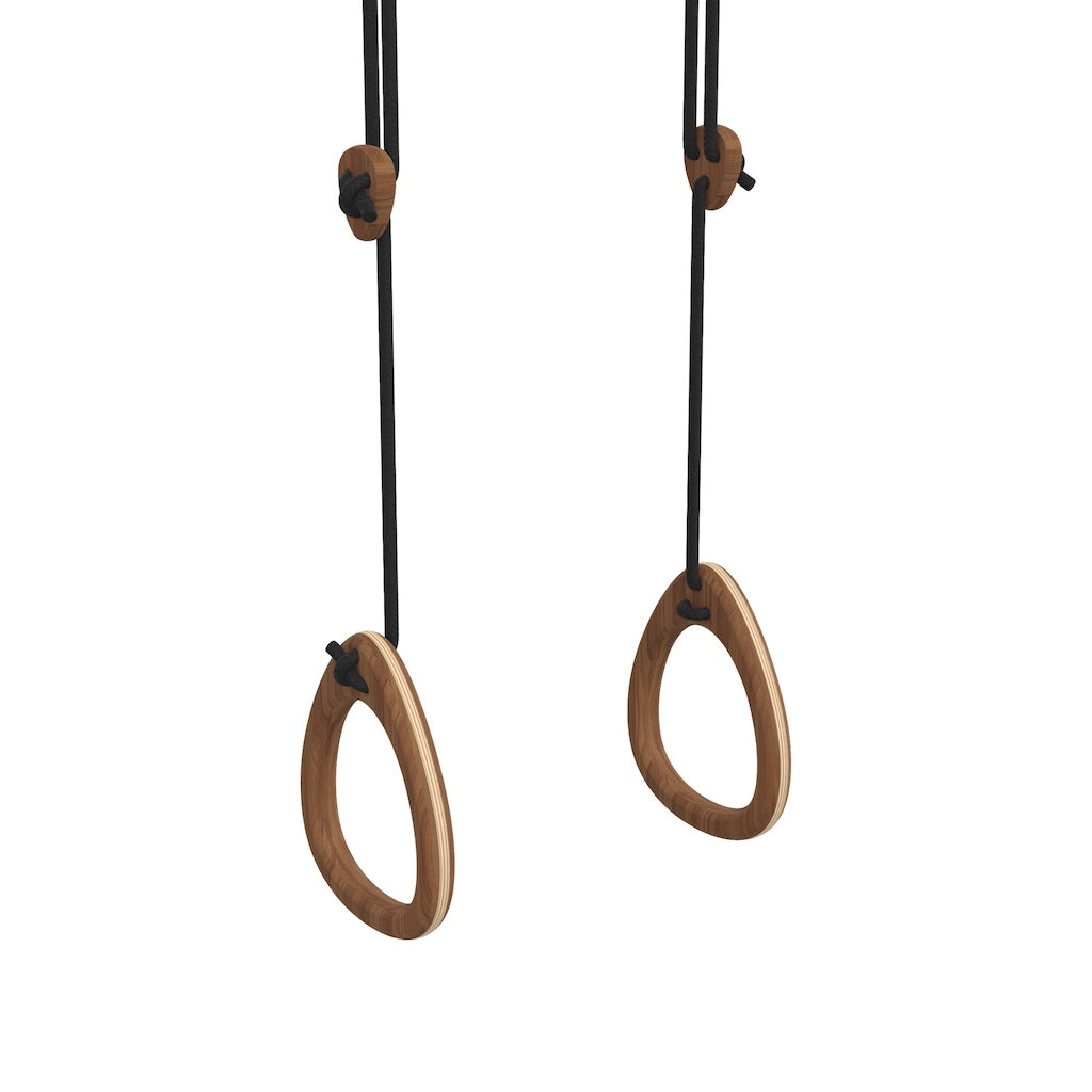 Lillagunga Gymnastics Rings Limited Edition Walnut with Black ropes