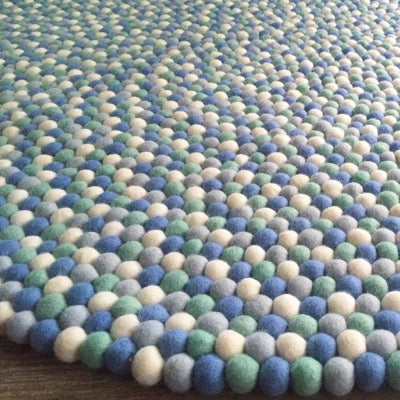 Winston & Grace Felt Ball Rug - Little Boy Blue