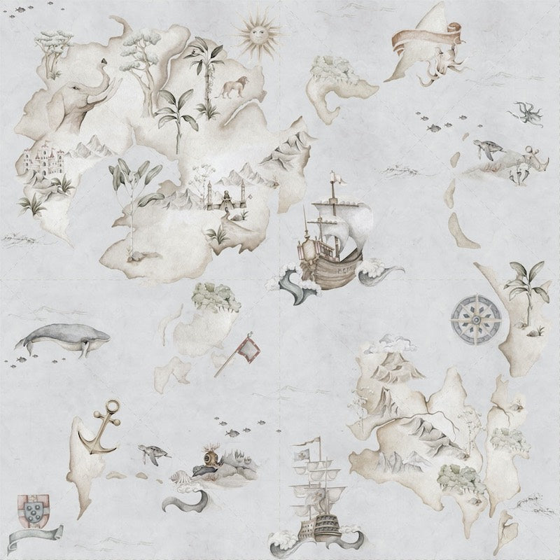 Dekornik Map Stories From The Sea Wallpaper - Colour