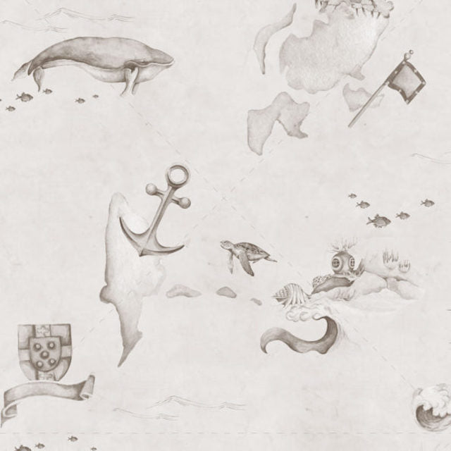 Dekornik Map Stories From The Sea Sepia Wallpaper