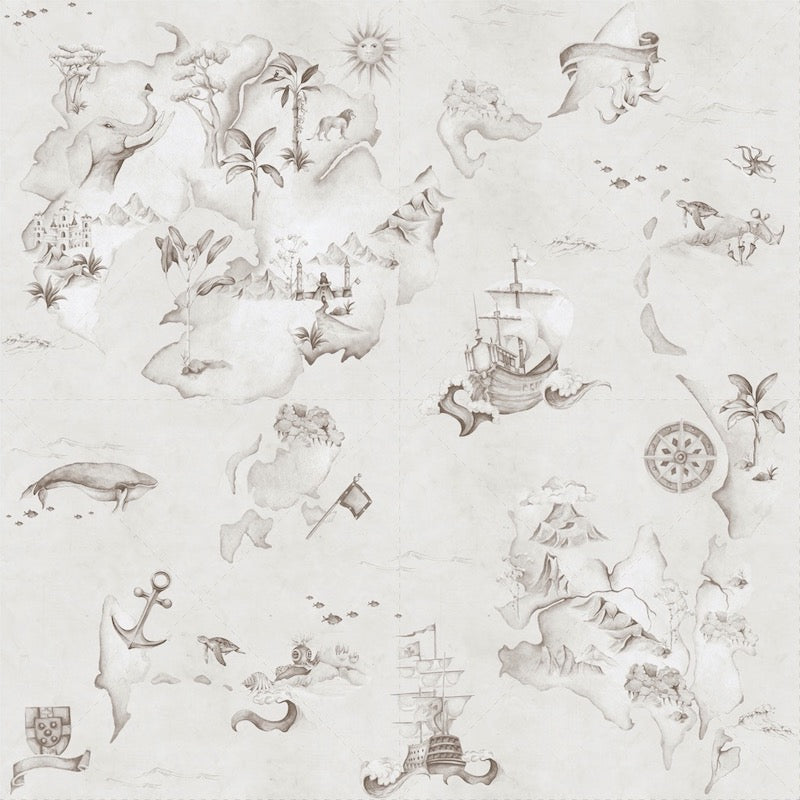 Dekornik Map Stories From The Sea Wallpaper in Sepia
