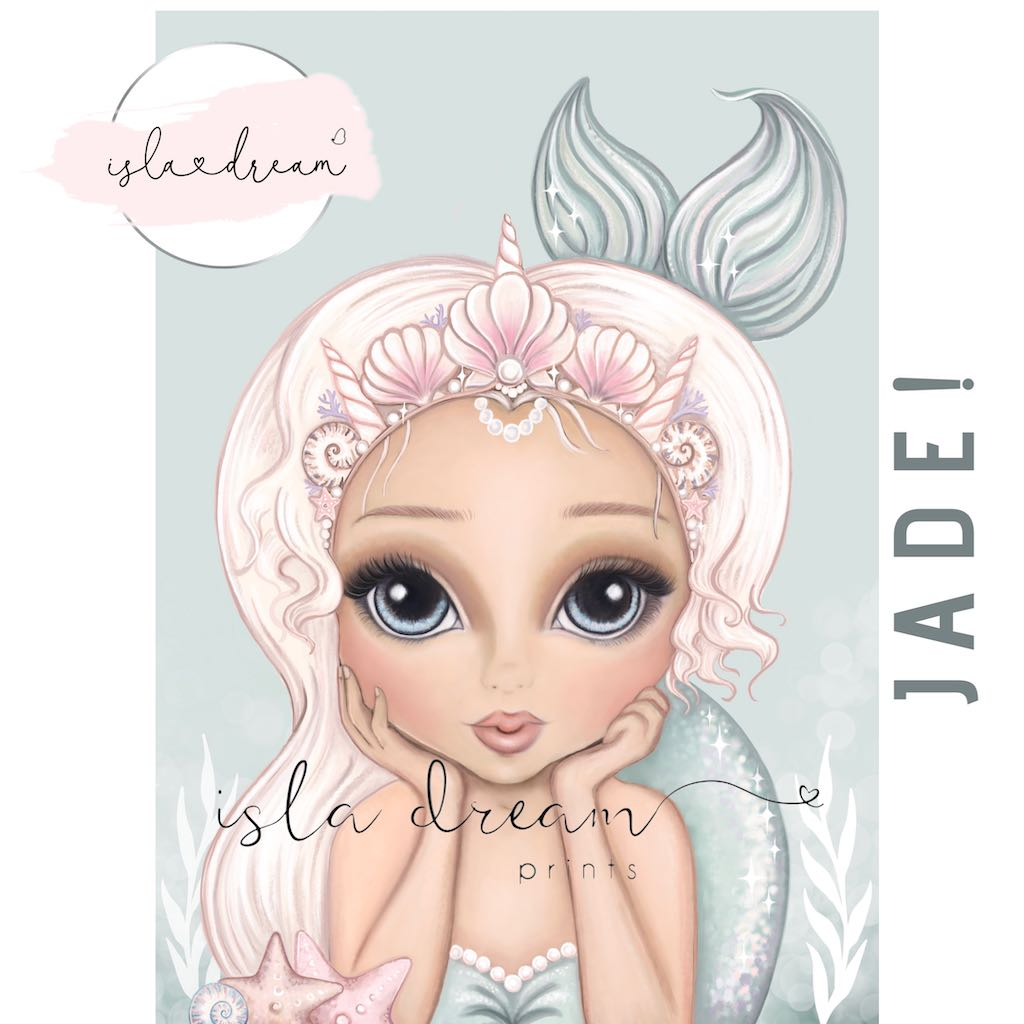 Isla Dream Prints Jade Mermaid Print