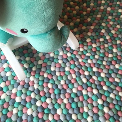 Winston & Grace Felt Ball Rug - Mint & Musk