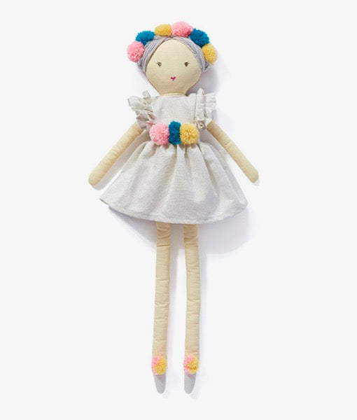 Miss Valentina Doll with white dress and pompoms
