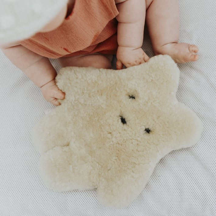 Oh Aldo White Sheepskin Aldo The Wombat with baby