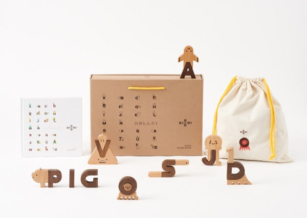 Wooden Oioiooi Alphabet Play Blocks Set