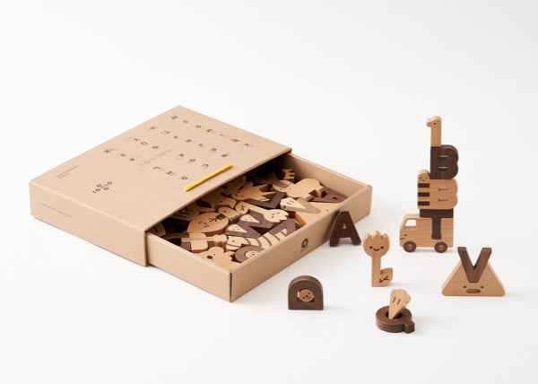 Oioiooi Wooden Alphabet Play Blocks Set