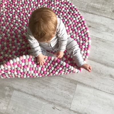Winston & Grace Felt Ball Rug - Pink Flamingo