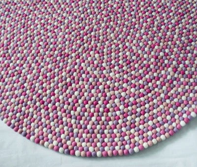 Winston & Grace Felt Ball Rug - Pink Princess