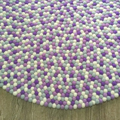 Winston & Grace Felt Ball Rug - Purple Rain